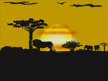 African landscape. Artistic sunset illustration including trees, lions and elephants in contrast color Stock Photo