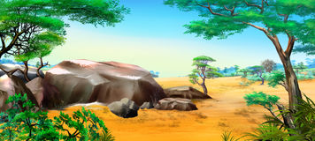 African landscape with big stones Stock Image