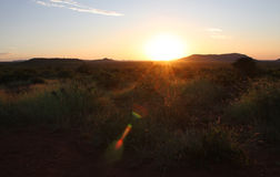 African Landscape At Dusk. Sun sets over African grassland Royalty Free Stock Image