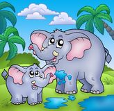 African landscape with elephants. Color illustration Stock Photo