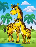 African landscape with giraffes. Color illustration Stock Photo