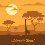 African landscape illustration. Africa landscape illustration with cute giraffe silhouette and african trees. Can be used for touristic or safari banner, poster Stock Images