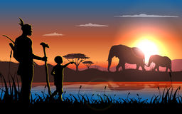 African landscape. Illustration  of tribal man and his child walk arround looking for elephant, landscape concept Stock Image