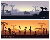 African landscape with people and animals Stock Images