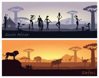 African landscape with people and animals Stock Image