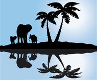 African landscape with reflection. And elephants Royalty Free Stock Image
