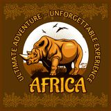 African landscape and rhino - vector poster. African landscape and rhino - vector illustration emblem and logo stock illustration