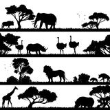 African Landscape Silhouette. African landscape with trees and wild animals black silhouettes vector illustration Royalty Free Stock Photography