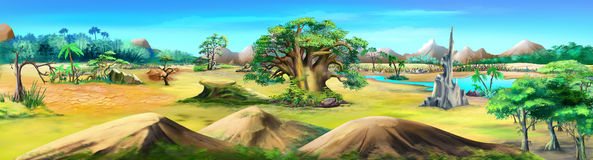 African Landscape in a Summer Day. Panorama Stock Photo
