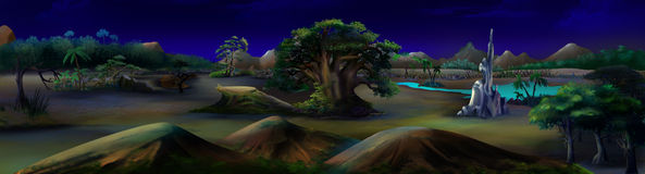 African Landscape in a Summer Night. Panorama Stock Photo