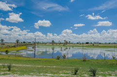 African landscapes - Ondangwa Namibia. Landscape view of Ondangwa against cloudy blue sky and reflected in the water, Namibia Stock Image