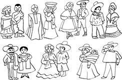African and Latin American national costumes. Graphic illustration of African and Latin American cartoon characters in national costumes Stock Images