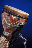 African Latin Djembe Drum Isolated on Blue Royalty Free Stock Image