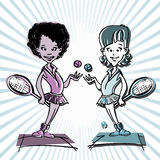 African,latino or indian. Tennis player couple cartoon Stock Images