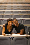 African lecture room. Happy african american college couple in lecture room Stock Photography