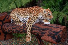 An African Leopard statue made from Lego bricks. CHESTER, UNITED KINGDOM - MARCH 27TH 2019: An African Leopard statue made from Lego bricks royalty free stock photos