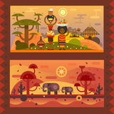 African life. African everyday. A woman with a bowl on head, boy with fruit in a plate. National houses, native animals. Vector flat illustration Stock Photos