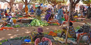 African lifestyle. Picture of one market in Ouagadougou, the capital of Burkina Faso, Africa. In Africa the market is more then a place where sell something. The Royalty Free Stock Photos