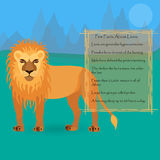 African Lion. Against Symplistic Nature Background and Poster with Few Interesting Facts about this Animal. Educational Card for Childrens Schooling. Vector EPS Royalty Free Stock Photo