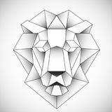 African lion head icon. Abstract triangular style. Contour for tattoo, logo, emblem and design element. Hand drawn sketch of a lion Royalty Free Stock Photo