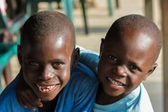 African little child portrait, african boys smiling. Kids play and laugh happy stock images