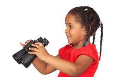African little girl with binoculars Stock Image