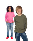 A african little girl and her caucasian friend Royalty Free Stock Photos