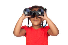 African little girl looking through binoculars Stock Photos