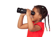 African little girl looking through binoculars Stock Image