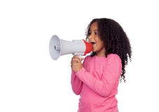 African little girl with a megaphone. Isolated on a white background Stock Photos