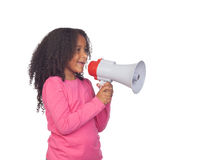 African little girl with a megaphone Stock Photography
