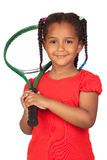 African little girl with a tennis racket Royalty Free Stock Images