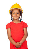 African little girl with a yellow helmet Stock Photo