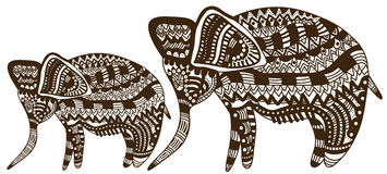 African love. Elephants in etnichemkom style on a white background Royalty Free Stock Photography
