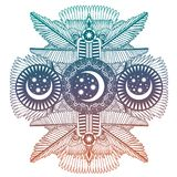 African magic moon and stars geometry ornament. royalty free stock photography