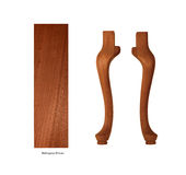 African Mahogany panel and table legs on a white background. African Mahogany wood panel and unfinished cabriole table legs on a white background Stock Photo