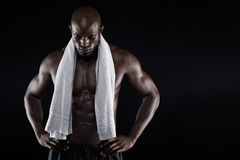 African male athlete after workout Stock Photos