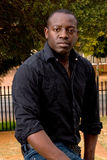 African male model. With black shirt stock image