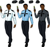 African male police officer holds taser Royalty Free Stock Photo