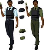 African male police officer holds taser Stock Photo