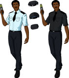 African male police officer holds taser Royalty Free Stock Photography