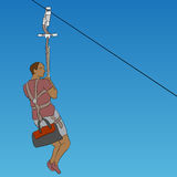 African male zip line rider Stock Images