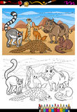 African mammals cartoon coloring book Royalty Free Stock Photo