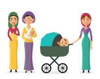 Happy jewish woman with a newborn baby mother with children flat cartoon vector illustration eps10. Isolated on a white background stock illustration