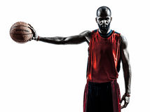 African man basketball player silhouette Stock Images