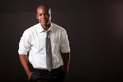 African man on black royalty free stock photography