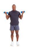 African man dumbbells Stock Photos