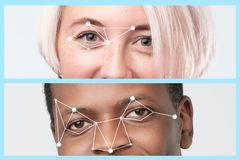 African man and european man face and dots connect on face. royalty free stock image