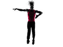 African man exercising fitness zumba dancing silhouette Stock Photography