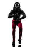 African man exercising fitness zumba dancing silhouette Royalty Free Stock Images